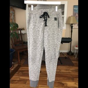 PINK sweats gray with front laced tie X small